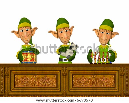3 Elfs working on toy factory making presents. - stock photo