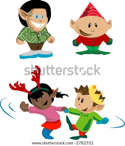 Elves and pixies having holiday fun. Raster version - stock photo
