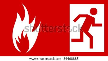 Emergency fire exit door, sign with human figure (jpg) - stock photo