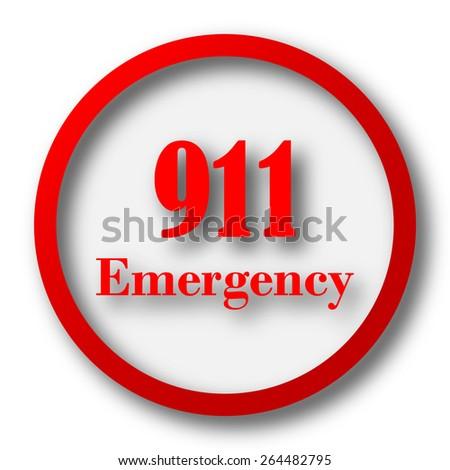 911 Emergency icon. Internet button on white  background.  - stock photo