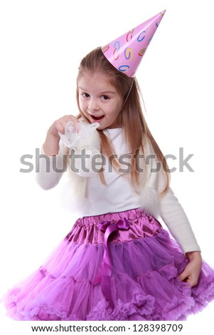 Emotion child dressed in bright festive clothes on white background