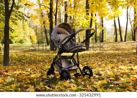 empty baby carriage in the park in autumn season