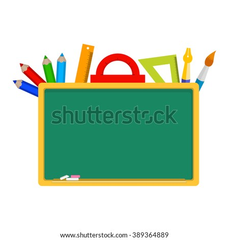 empty blackboard, stationery, tools