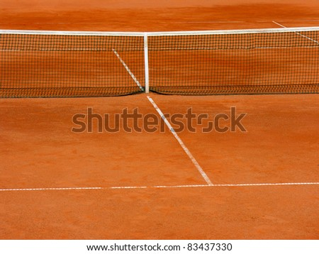 empty clay tennis court in time-out - stock photo