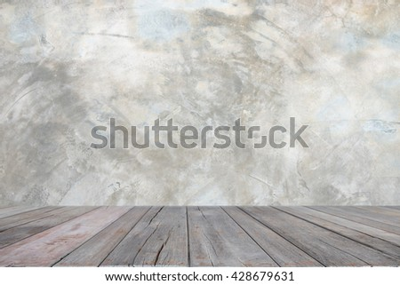 Empty grunge interior background with wooden floor and white concrete wall
