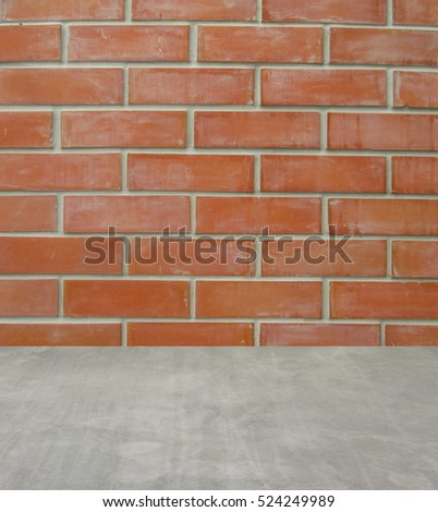 Empty interior for design, brick wall concrete floor . Empty room. Space for text and picture. Design ideas and style.