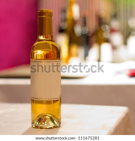 empty label, wine with blur background - stock photo