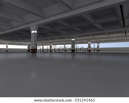 Empty light parking area 3D rendering image