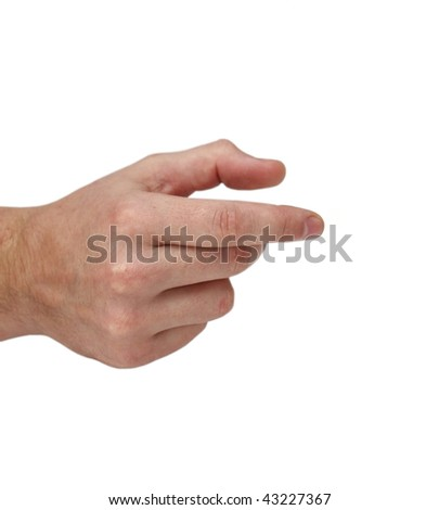 Empty man's hand isolated on white - stock photo