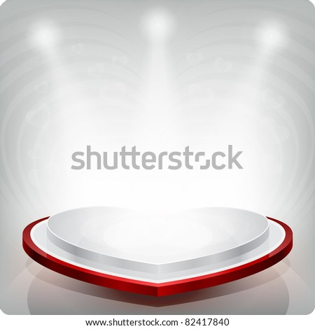 Empty shelf in the shape of a red heart for exhibition. Isolated. 3d. - stock photo