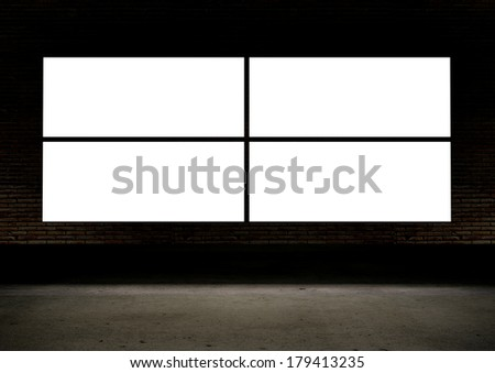4 Empty white screen glows in dark abstract room  - stock photo