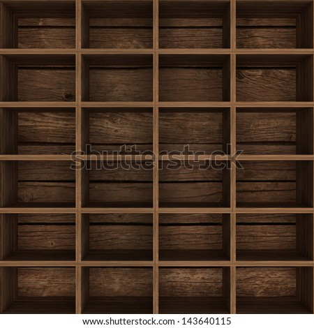 empty wooden bookshelf. 3d