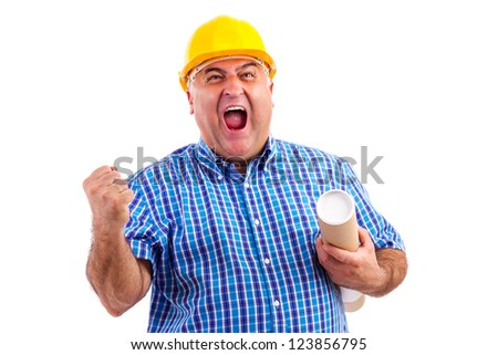 Engineer with hard hat screaming of joy against white background - stock photo