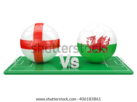 England / Wales soccer game over soccer field 3d illustration - stock photo