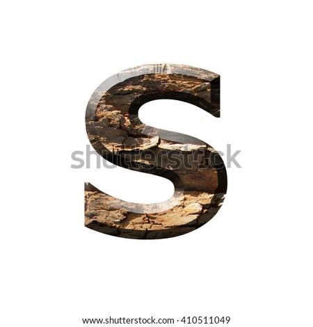 English alphabet wood Bark real - stock photo