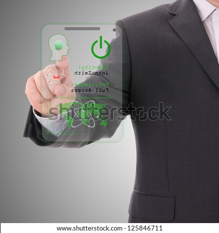 entering the door or secure data by touch screen - stock photo