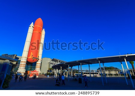 [2014-12-14]Entrance to the NASA Space Shuttle Atlantis Exhibit at Kennedy Space Center Visitor Complex, Merritt Island, Florida. There is a scaled down version of Space Shuttle at the entrance.  - stock photo