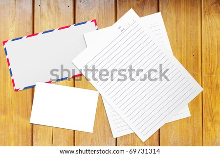 Envelope on the wooden table