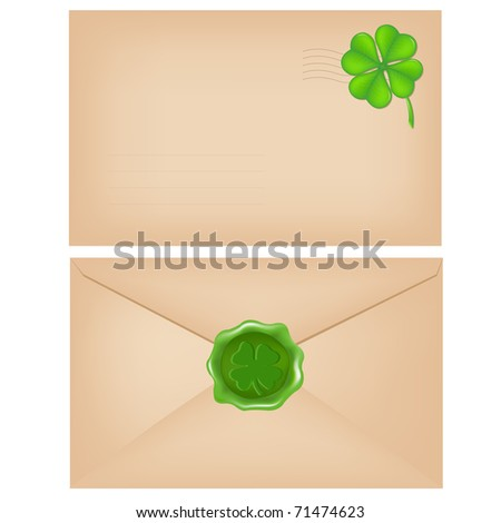 2 Envelopes With Wax Seal And Clover, Isolated On White Background - stock photo