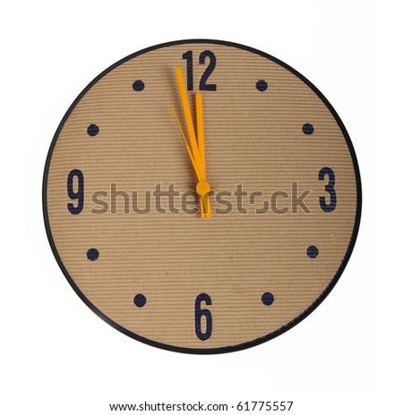 environmentally friendly clock, isolated on white - stock photo