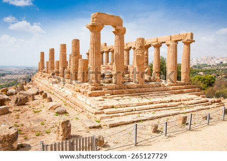 Ercole temple in the Valley of the Temples, Agrigento, Sicily island, Italy - stock photo