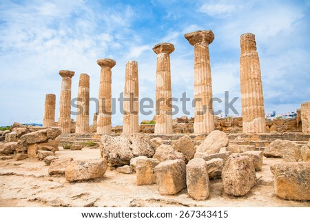 Ercole temple in the Valley of the Temples, Agrigento, Sicily island, Italy. - stock photo