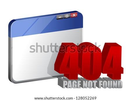 404 error on computer browser illustration design over a white background - stock photo