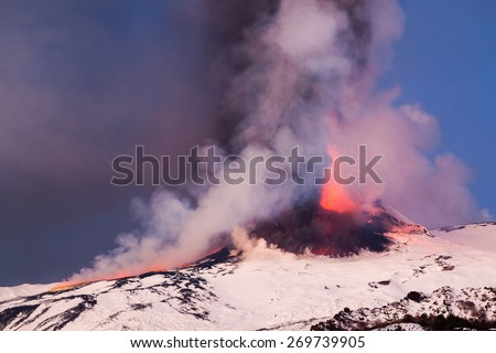 Eruption and lava flow in Italy - stock photo
