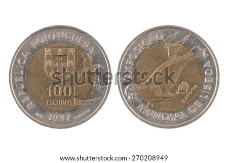 """""""100 escudos"""" Portuguese coin,1997 isolated on white background. - stock photo"""