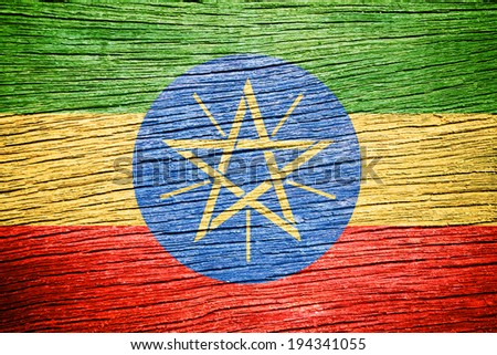 Ethiopia Flag painted on wood texture - stock photo