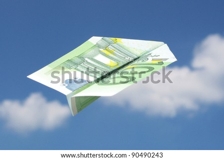 100-EURO airplane in the sky - stock photo