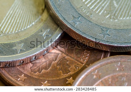2 euro, 5 and 2 cent coins - stock photo
