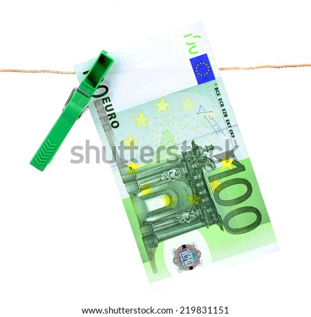 100 Euro bank note hanging on clothesline - stock photo