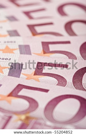 500 Euro bank notes fanned out, macro texture - stock photo