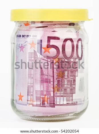 500 Euro bank notes in a glass jar isolated  on white background - stock photo