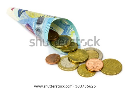 Euro banknote and coins on white background - stock photo