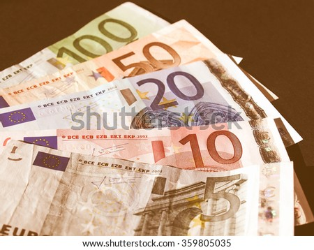 Euro banknote (currency of the European Union) - selective focus vintage