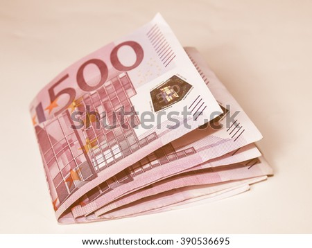 Euro banknote (currency of the European Union) vintage - stock photo