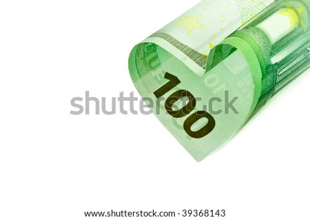 100 Euro banknote heart isolated on white. Shallow DOF - stock photo