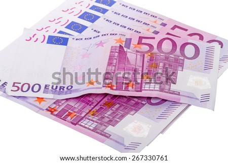 500 Euro banknote  isolated on white background - stock photo