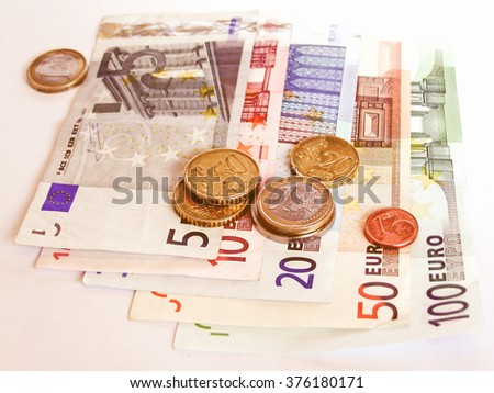 Euro banknotes and coins picture vintage
