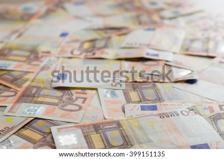50 euro banknotes background, selective focus - stock photo
