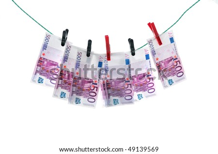 500 euro banknotes hanging on a clothesline. Money laundering.
