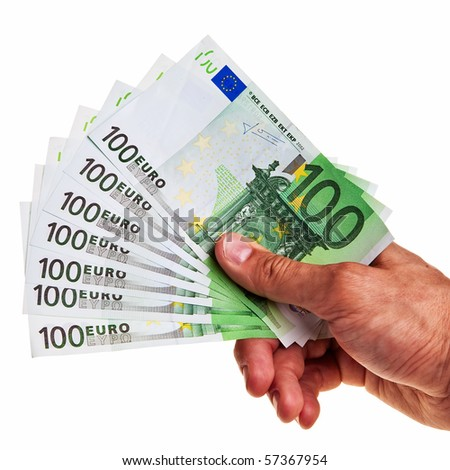 100 Euro banknotes hold by right male hand of caucasian origin.