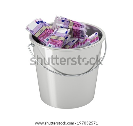 500 euro banknotes in a bucket - isolated on white - stock photo