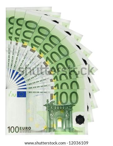 100 Euro banknotes, isolated - stock photo