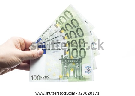 100 Euro banknotes isolated on white background