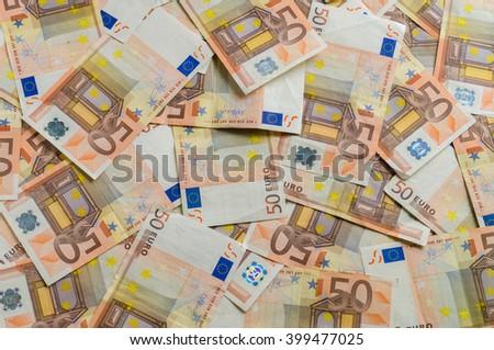 50 euro banknotes money background, overlook - stock photo