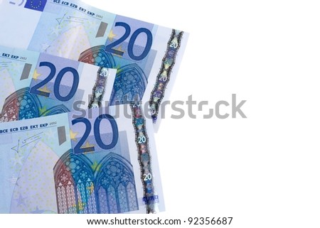 20 euro banknotes on white background - stock photo