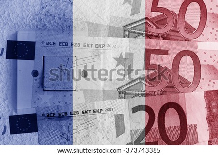 Euro banknotes, switch and Russian flag - stock photo